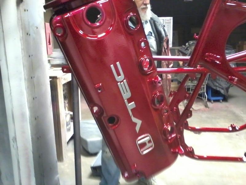 Honda VTEC cam cover in wet red over chrome powder