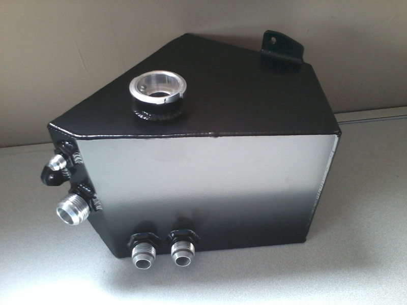 Fabricated coolant tank in satin black