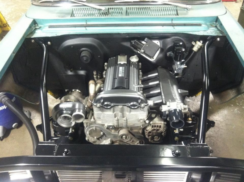 Engine parts in black chrome with clear