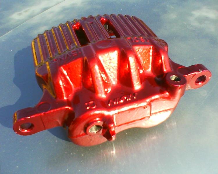 Honda brake caliper - Silver metalflake with candy red