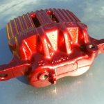 Honda brake caliper - Silver metalflake with candy red