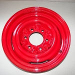 Boat trailer wheels refinished in Bass boat metalflake red.