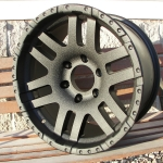 Black wrinkle truck wheels