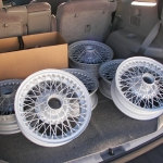 Sunbeam Alpine wire wheels in the original wheel silver