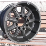 Truck wheels after cleanup and wrinkle black finish