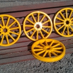 Set of wheels from Shriner's car in ultimate yellow