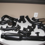 Complete turbo exhaust system in black ceramic