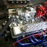 Manifold and headers on engine test stand - Griff's CAM shop