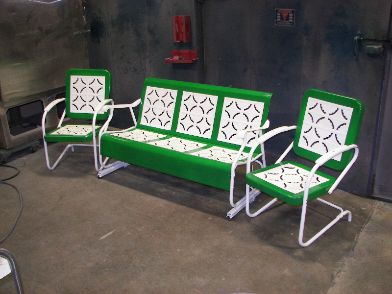 Refinished in Emerald green and wet white with new hardware