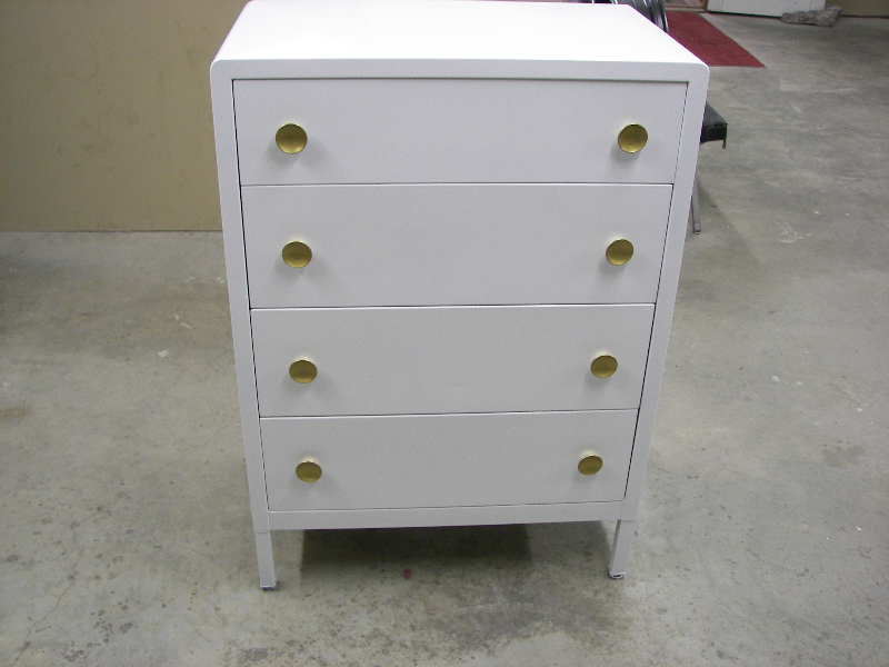 Ivory white with gold metalic powder coated knobs