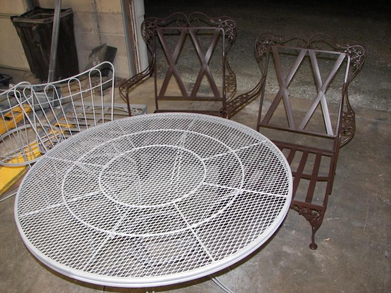 Patio furniture before finishing
