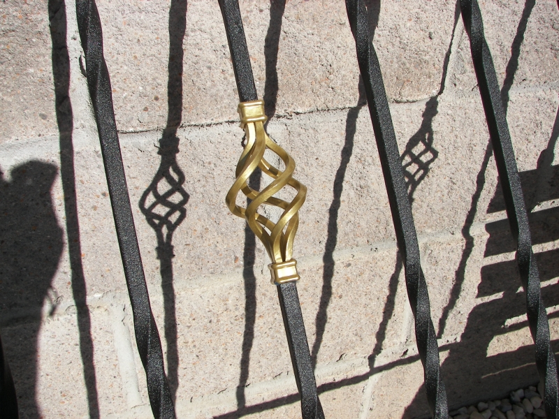 Wrinkle Black & Gold highlighted railing