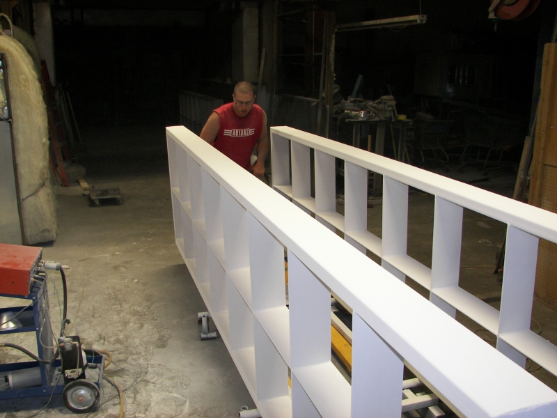 14' long 800 lb. steel trellis units in wet white