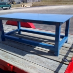 Heavy duty steel table for Starbucks corp. Epoxy blue