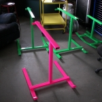 Roping dummy frames in neon pink & fluorescent green
