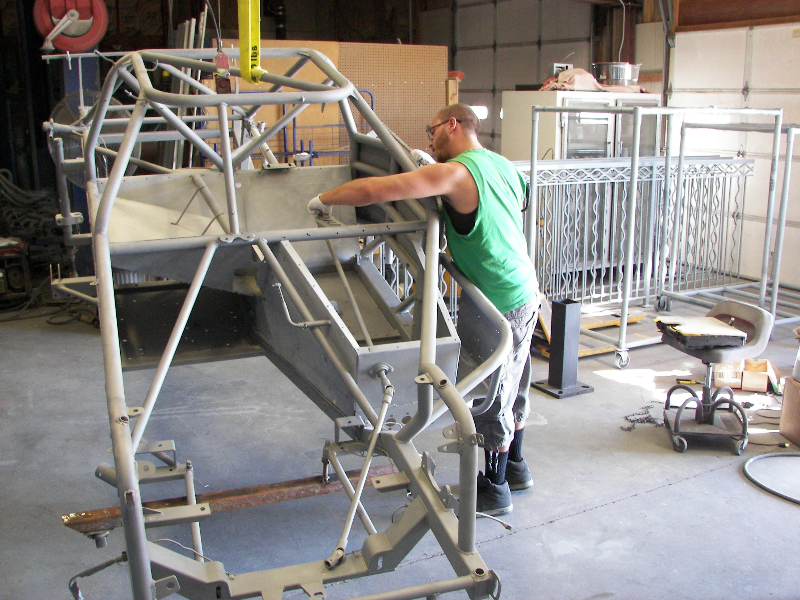 Prepairing late model chassis after sand blasting