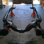 pontiac frame after powder coating in customer garage