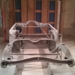 pontiac frame in sandblast booth