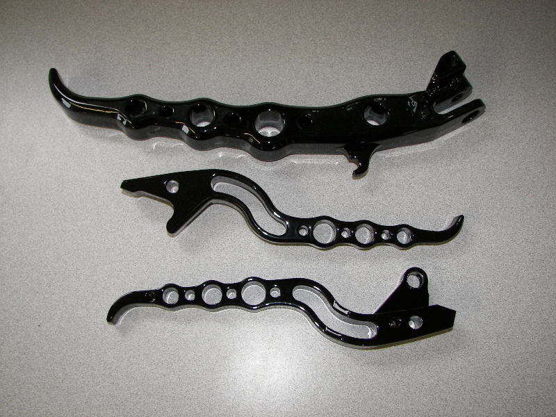 Harley levers in wet black