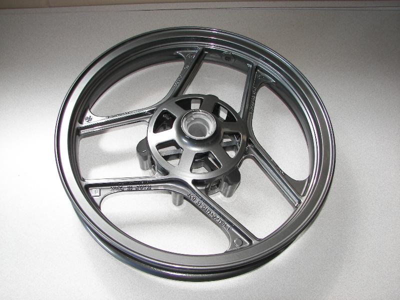 A 250 Ninja wheel in bonded black chrome